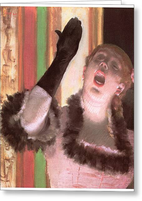 Opera Gloves Paintings Greeting Cards - Singer with a Glove Greeting Card by Edgar Degas