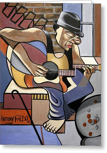 Blue Greeting Cards Greeting Cards - Singing The Blues Greeting Card by Anthony Falbo