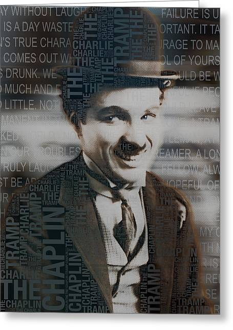British Celebrities Mixed Media Greeting Cards - Sir Charles Spencer Charlie Chaplin Square Greeting Card by Tony Rubino