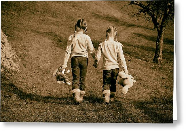 Family Love Greeting Cards - Sisters Holding Hands Greeting Card by Mountain Dreams