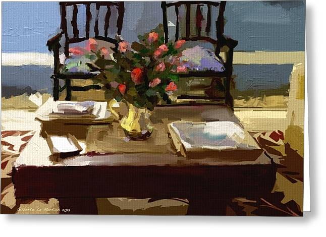 Interior Still Life Digital Greeting Cards - Sit with me Greeting Card by Gilberto De Martino