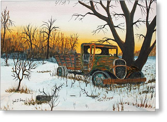 Sittin Where It Quit Greeting Card by Jack G  Brauer