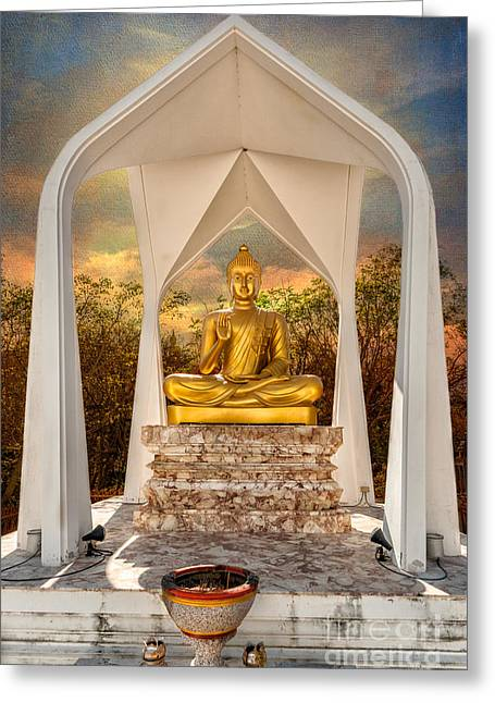 Incense Sticks Greeting Cards - Sitting Buddha Greeting Card by Adrian Evans
