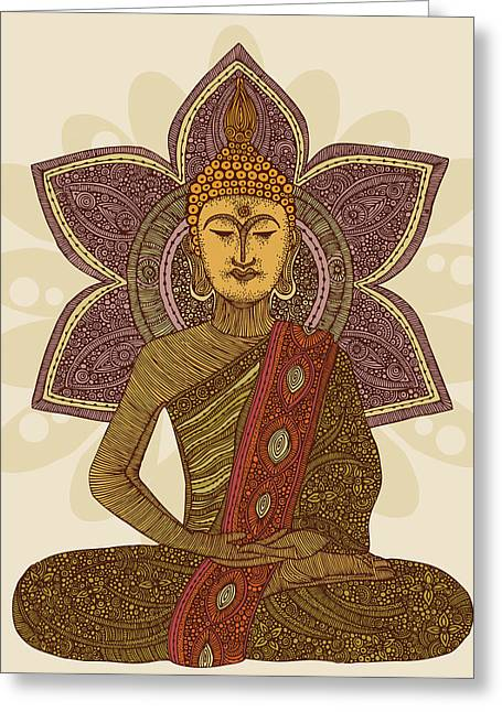 Mindful Greeting Cards - Sitting Buddha Greeting Card by Valentina Ramos