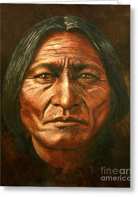 Native American Art Greeting Cards - Sitting Bull Greeting Card by Stu Braks