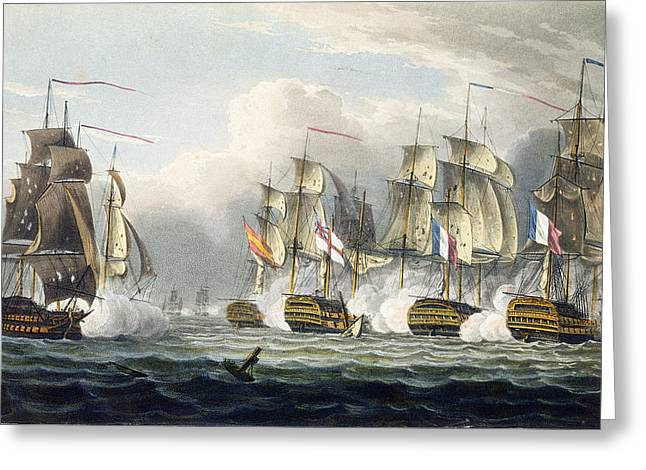 Naval History Greeting Cards - Situation Of The Hms Bellerophon Greeting Card by Thomas Whitcombe
