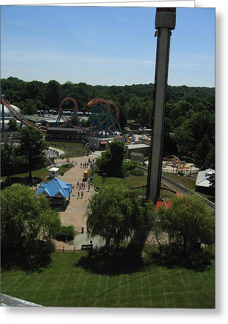 Fun Greeting Cards - Six Flags America - 12123 Greeting Card by DC Photographer