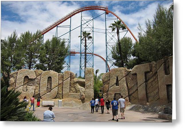 Rollercoaster Greeting Cards - Six Flags Magic Mountain - 12122 Greeting Card by DC Photographer