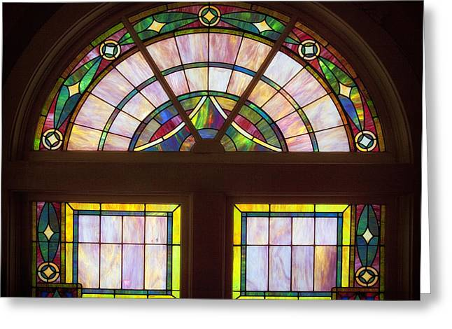 Stained Glass Glass Greeting Cards - Sixteenth Street Baptist Church Stained Glass - Birmingham Alabama Greeting Card by Mountain Dreams