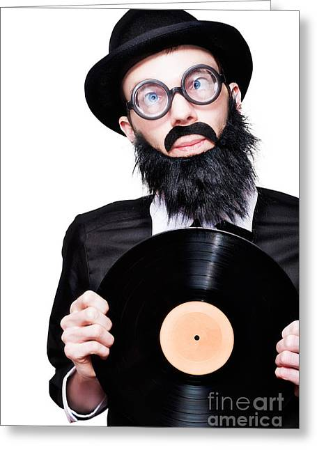 Sixties Retro Rock Man Holding Music Record Vinyl Greeting Card by Jorgo Photography - Wall Art Gallery