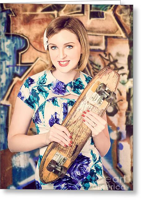 Pin-up Model Greeting Cards - Skater girl from 1950s holding wooden skate deck Greeting Card by Ryan Jorgensen