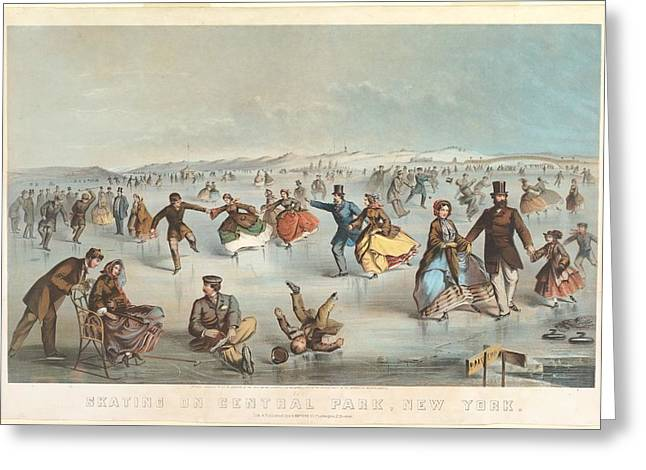 York Beach Paintings Greeting Cards - Skating in Central Park New York Greeting Card by Winslow Homer