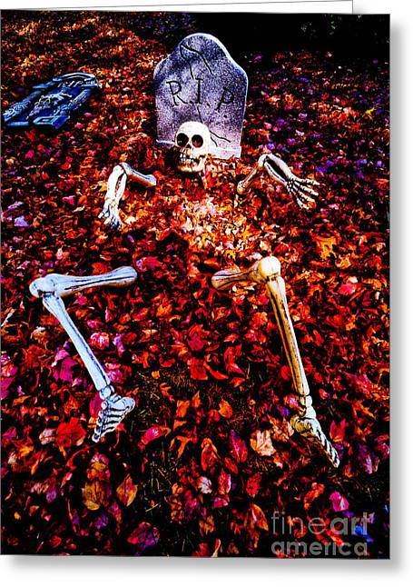 Rest In Peace Greeting Cards - Skeleton Rising from the Dead Greeting Card by Amy Cicconi