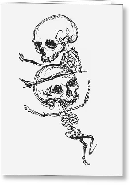 Macabre Photographs Greeting Cards - Skeletons, Illustration From Complainte De Loubli Et Des Morts Pen & Ink On Paper Bw Photo Greeting Card by Jules Laforgue