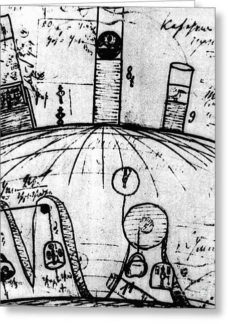 Hand Drawn Greeting Cards - Sketch From Tsiolkovskys Notebook Greeting Card by RIA Novosti