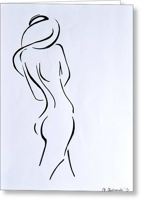 Sex Drawings Greeting Cards - Sketch of a Nude Woman Greeting Card by Anna Androsovski