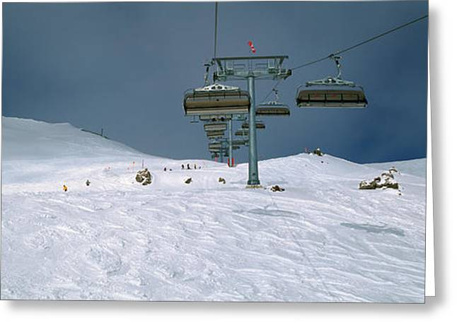 Ski Lift Greeting Cards - Ski Lift Over A Polar Landscape, Lech Greeting Card by Panoramic Images