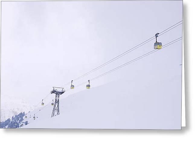 Powder Greeting Cards - Ski Lifts In A Ski Resort, Arlberg, St Greeting Card by Panoramic Images