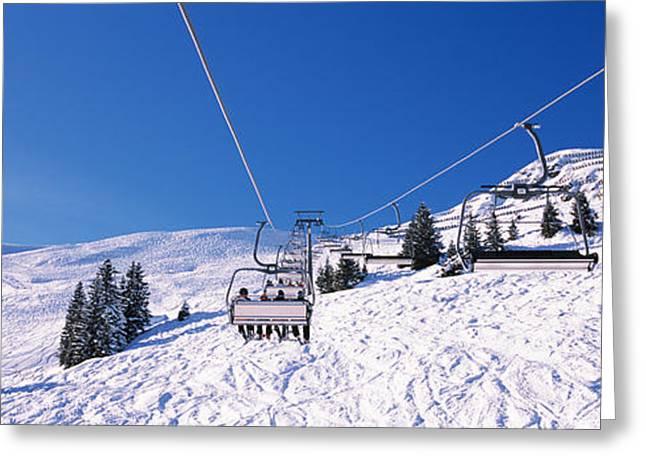 Ski Lift Greeting Cards - Ski Resort, Reith Im Alpbachtal, Tyrol Greeting Card by Panoramic Images