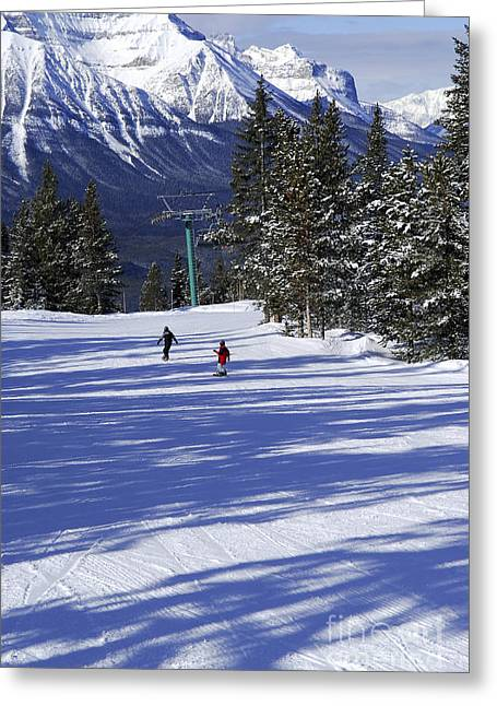 Chairlift Greeting Cards - Skiing in mountains Greeting Card by Elena Elisseeva