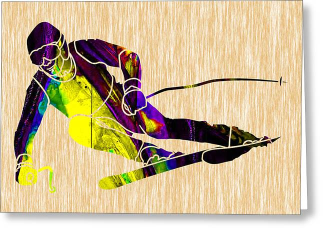 Ski Mixed Media Greeting Cards - Skiing Greeting Card by Marvin Blaine