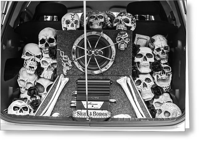 Skulls Photographs Greeting Cards - Skull and Bones - PT Cruiser Greeting Card by Jill Reger