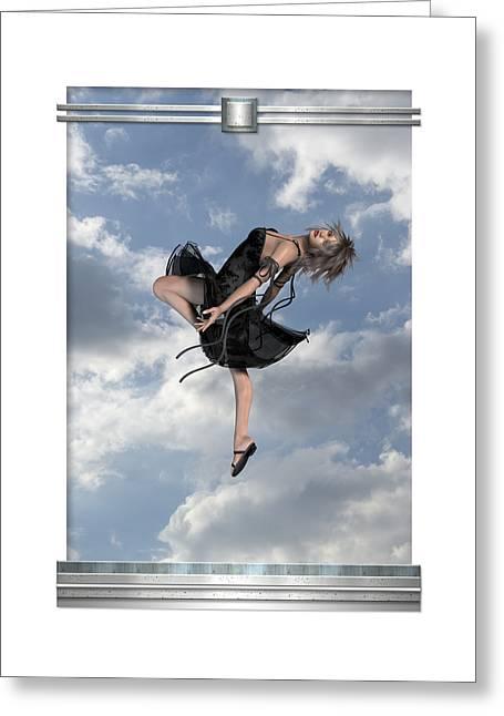 Floating Girl Greeting Cards - Sky Girl Greeting Card by Imagenetix Art