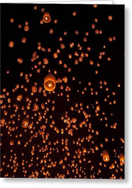 Yee Greeting Cards - Sky lantern Thailand Festival Greeting Card by Nunta Lertslarak