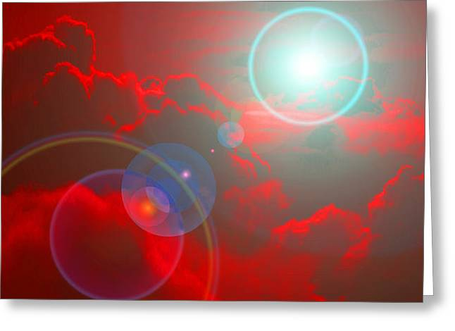 Himmel Mixed Media Greeting Cards - Red Sky Greeting Card by Ramon Labusch