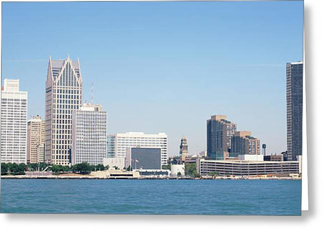 Wispy Greeting Cards - Skyline Detroit Mi Usa Greeting Card by Panoramic Images