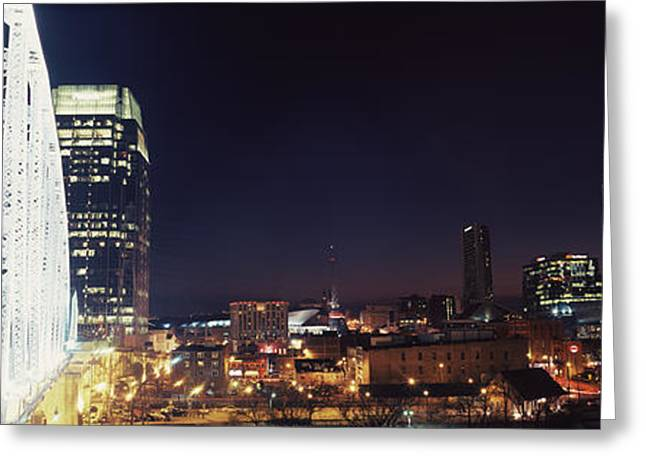 Nashville Panorama Greeting Cards - Skylines And Shelby Street Bridge Greeting Card by Panoramic Images