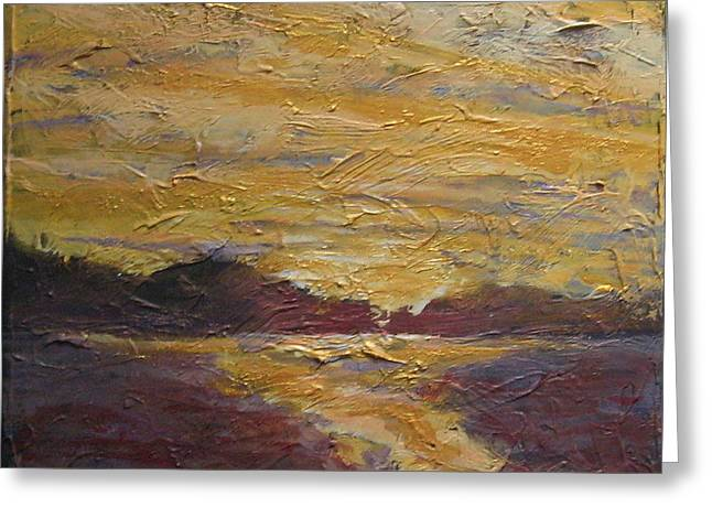 Salmon Paintings Greeting Cards - Skyscape 4 Greeting Card by Edy Ottesen