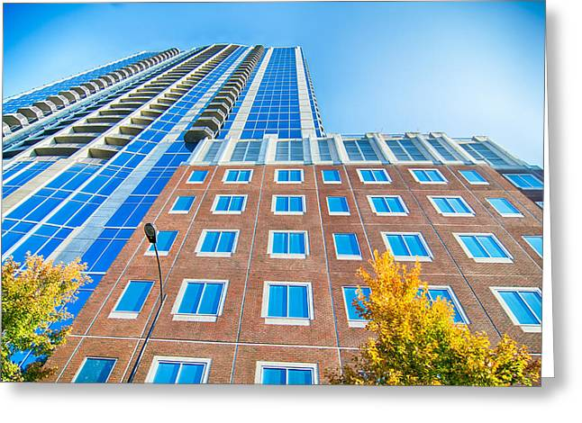 Modern Photographs Greeting Cards - skyscraper buildings in Charlotte North Carolina USA Greeting Card by Alexandr Grichenko