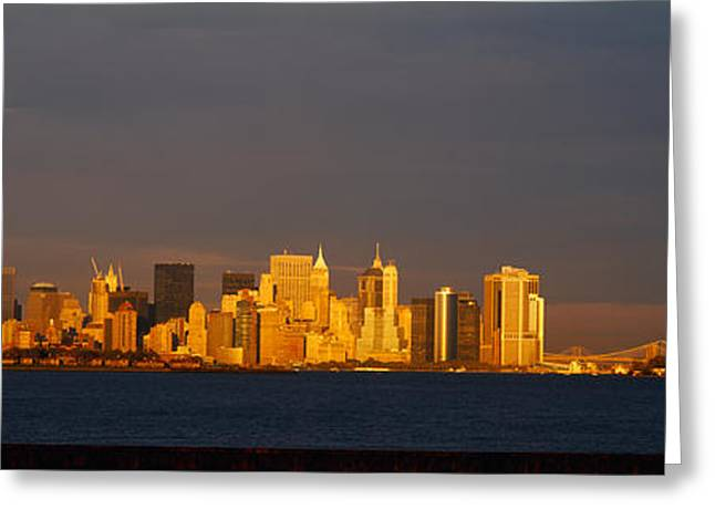 International Photography Greeting Cards - Skyscrapers And A Statue Greeting Card by Panoramic Images