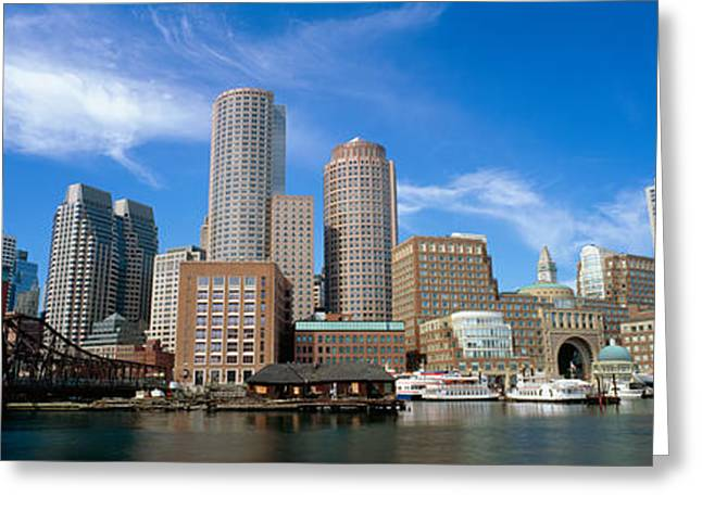 Panoramic Photography Greeting Cards - Skyscrapers At The Waterfront, Boston Greeting Card by Panoramic Images