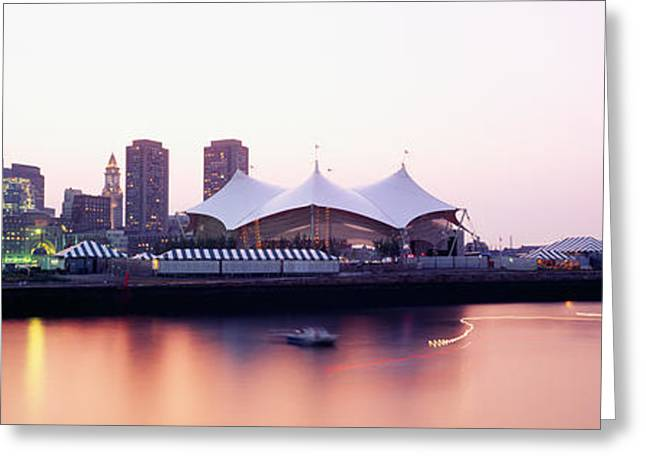 Charles River Greeting Cards - Skyscrapers At The Waterfront, Charles Greeting Card by Panoramic Images