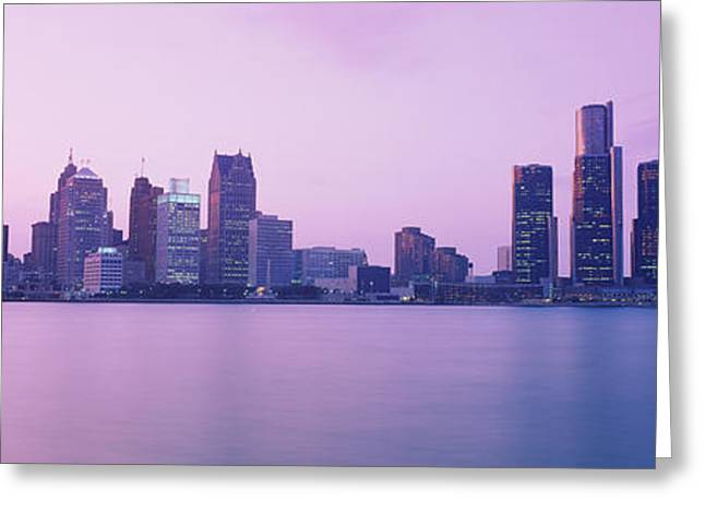 Detroit Photography Greeting Cards - Skyscrapers At The Waterfront, Detroit Greeting Card by Panoramic Images