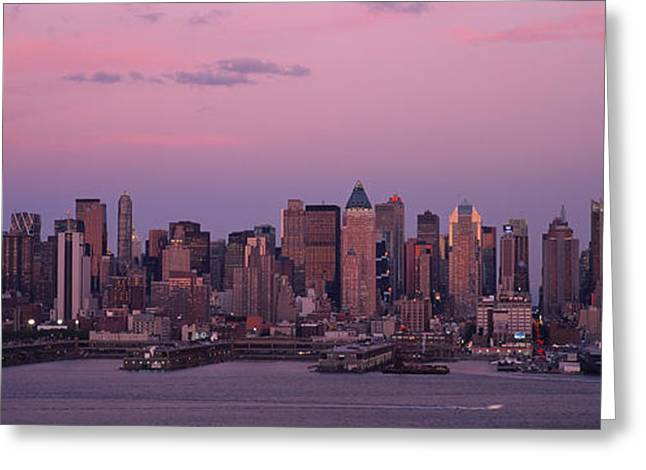Locations Greeting Cards - Skyscrapers At The Waterfront Greeting Card by Panoramic Images