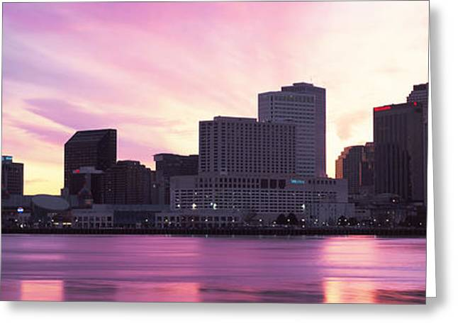 Louisiana Greeting Cards - Skyscrapers At The Waterfront, River Greeting Card by Panoramic Images