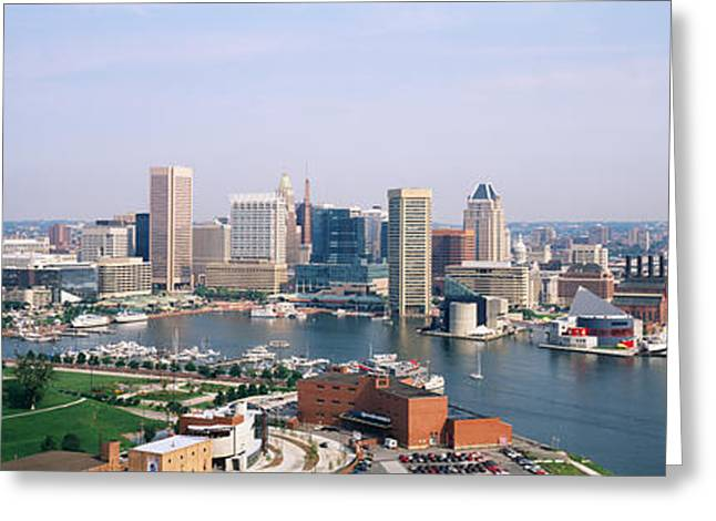 Locations Greeting Cards - Skyscrapers In A City, Baltimore Greeting Card by Panoramic Images