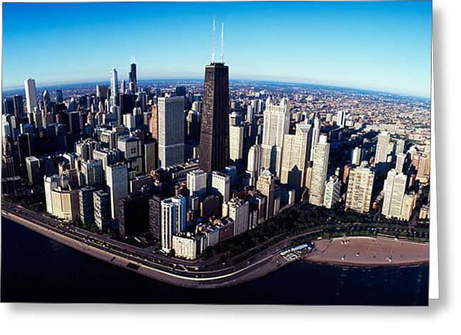 Fish Eye Lens Greeting Cards - Skyscrapers In A City, Lake Shore Greeting Card by Panoramic Images