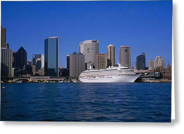 Boat Cruise Photographs Greeting Cards - Skyscrapers On The Waterfront, Sydney Greeting Card by Panoramic Images