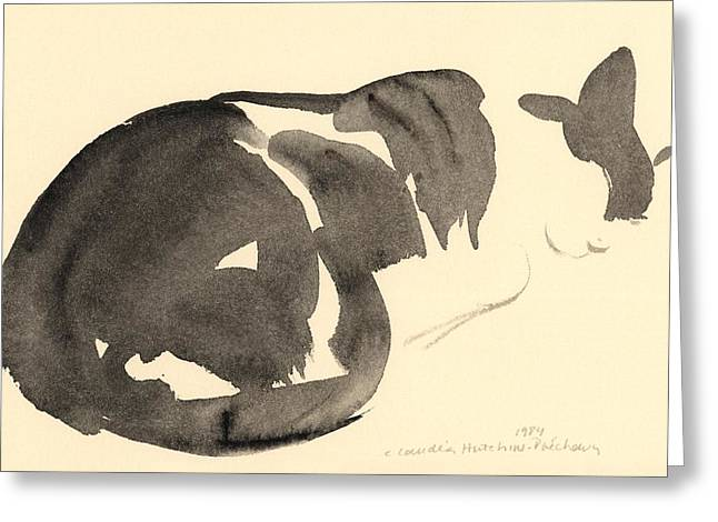 Kitten Prints Greeting Cards - Sleeping cat Greeting Card by Claudia Hutchins-Puechavy