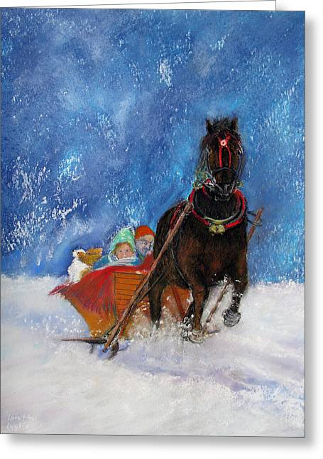 Spaniel Pastels Greeting Cards - Sleigh Ride Greeting Card by Loretta Luglio