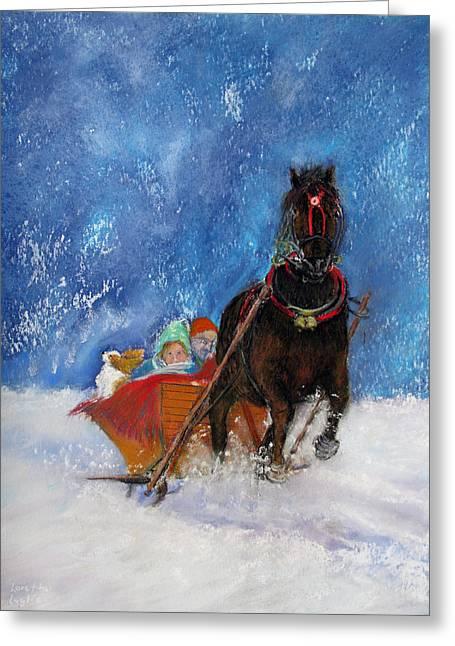 Spaniel Pastels Greeting Cards - Sleigh Ride Greeting Card by Loretta Luglio