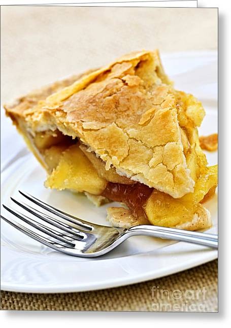 Pie Greeting Cards - Slice of apple pie Greeting Card by Elena Elisseeva