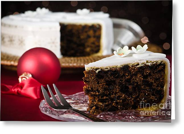 White Cloth Greeting Cards - Slice Of Christmas Cake Greeting Card by Amanda And Christopher Elwell