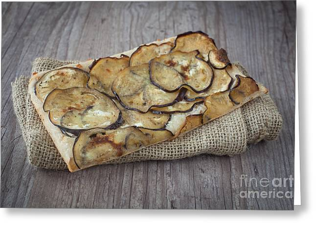 Italian Meal Greeting Cards - Sliced pizza with eggplants Greeting Card by Sabino Parente