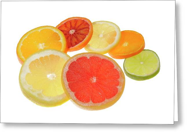 Slices Of Citrus Fruit Greeting Card by Cordelia Molloy
