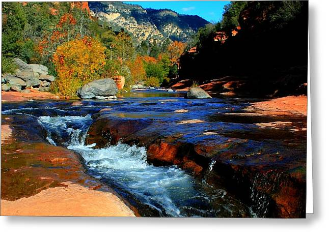 Recently Sold -  - Oak Creek Greeting Cards - Slide Rock Greeting Card by Miles Stites